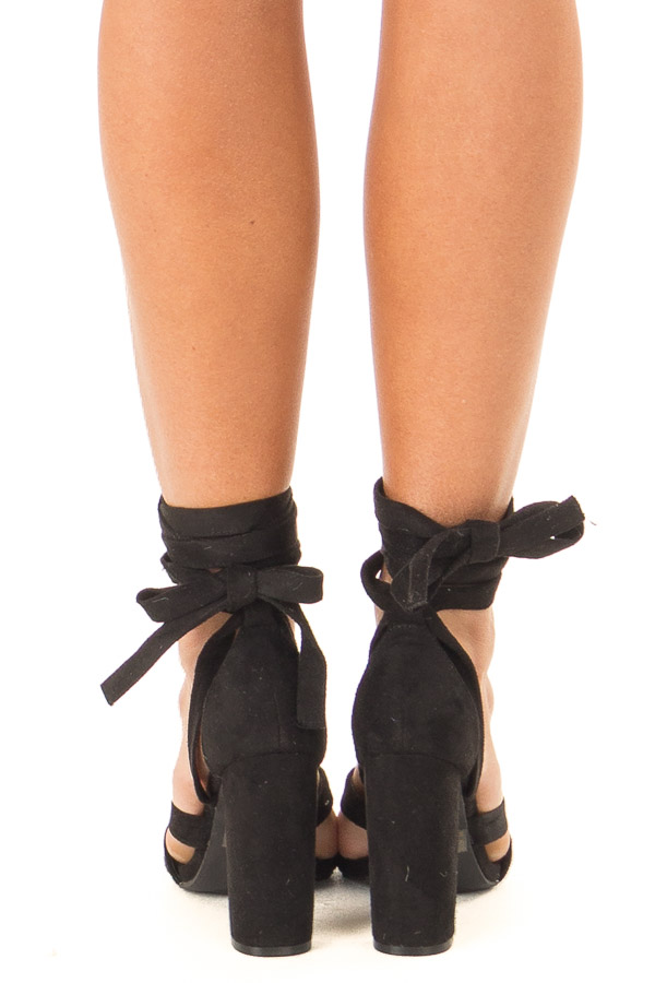 Black Faux Suede Strappy Heel with Ankle Wrap Detail back view