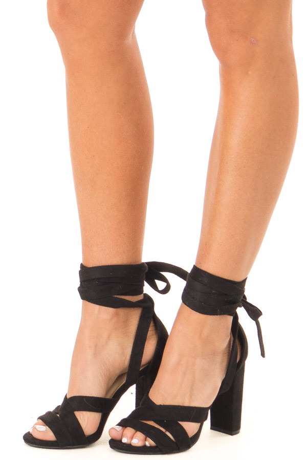 Black Faux Suede Strappy Heel with Ankle Wrap Detail side view