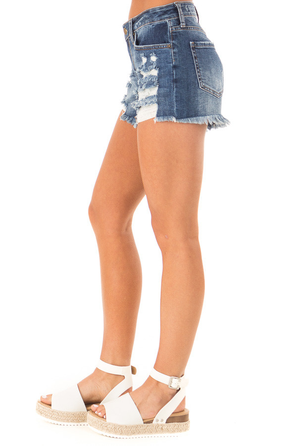 Dark Wash Mid Rise Shorts with Distressed Details side view