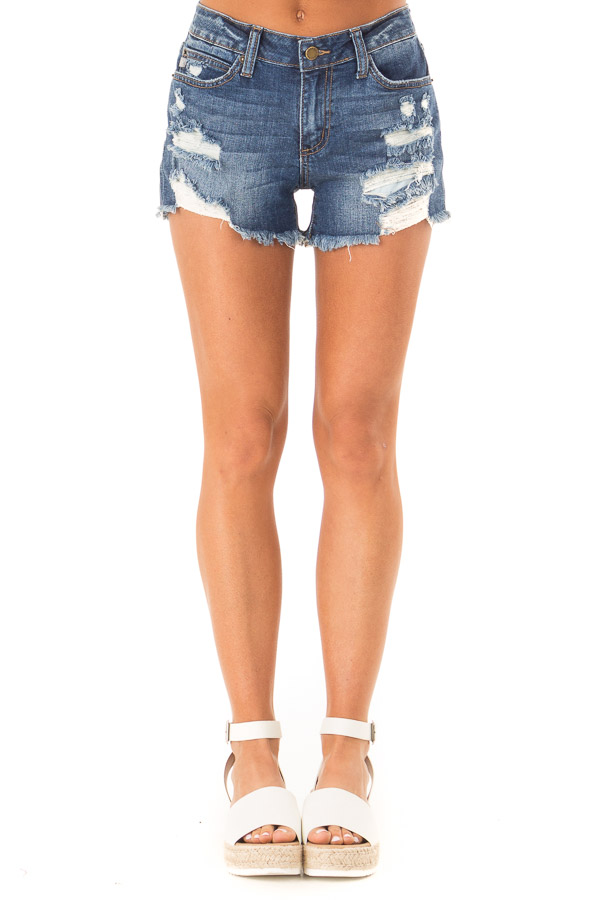 Dark Wash Mid Rise Shorts with Distressed Details front view