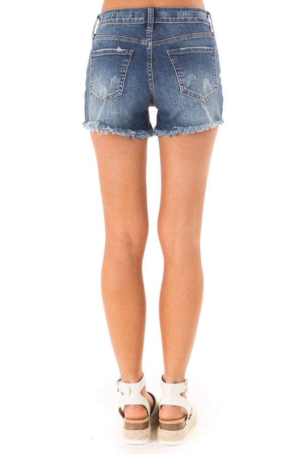 Dark Wash Mid Rise Shorts with Distressed Details back view