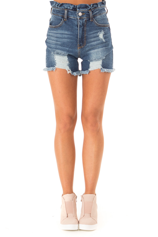Dark Wash High Rise Paper Bag Waist Shorts front view