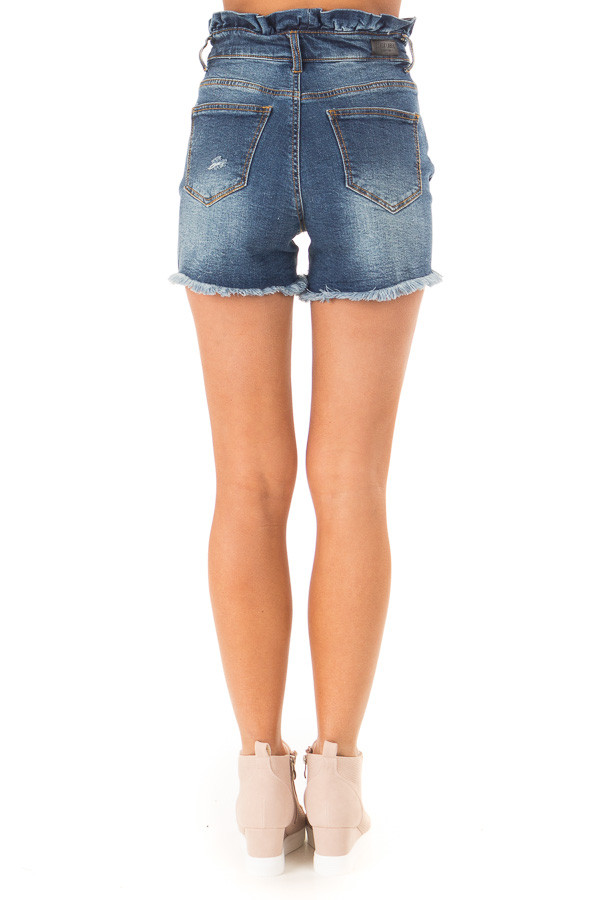 Dark Wash High Rise Paper Bag Waist Shorts back view