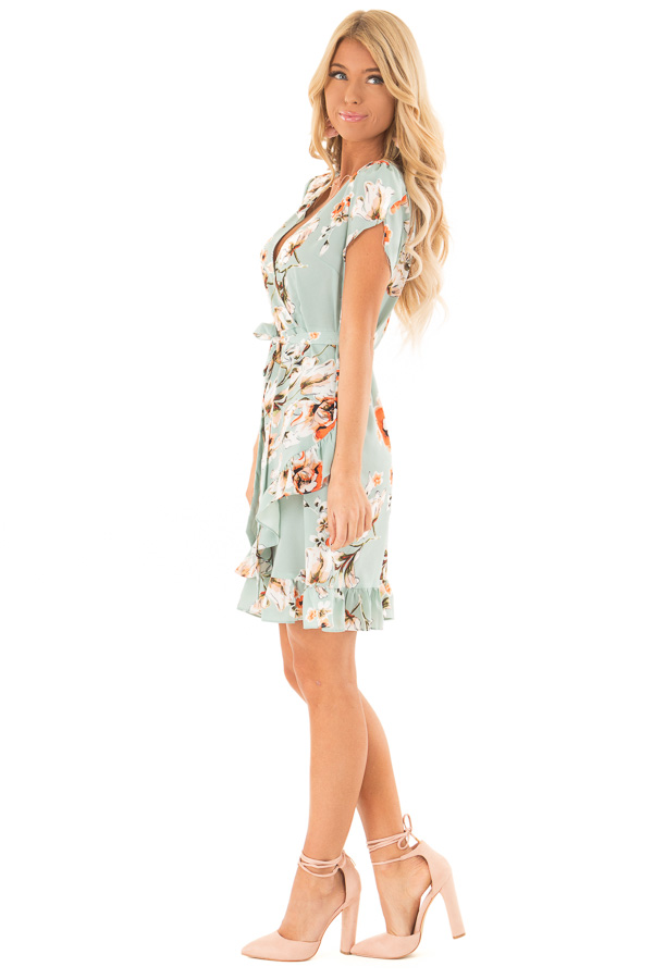Dusty Mint Floral Print Ruffle Dress with Crossover Front side full body