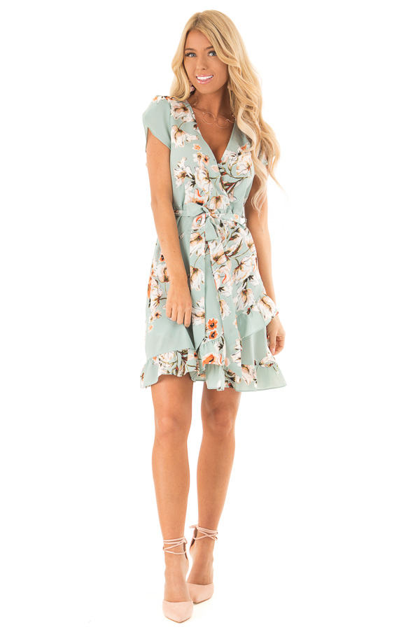 Dusty Mint Floral Print Ruffle Dress with Crossover Front front full body
