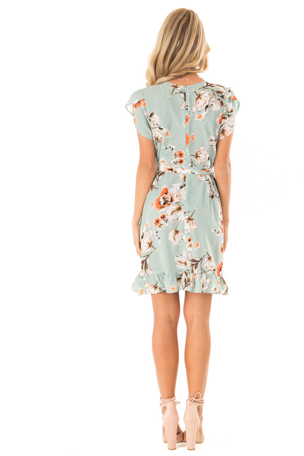Dusty Mint Floral Print Ruffle Dress with Crossover Front back full body