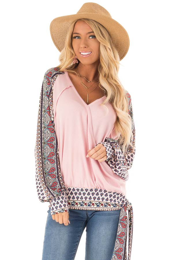 Baby Pink Crossover Textured Knit Top with Pattern Contrast front close up