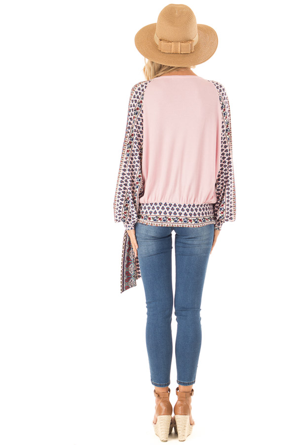 Baby Pink Crossover Textured Knit Top with Pattern Contrast back full body