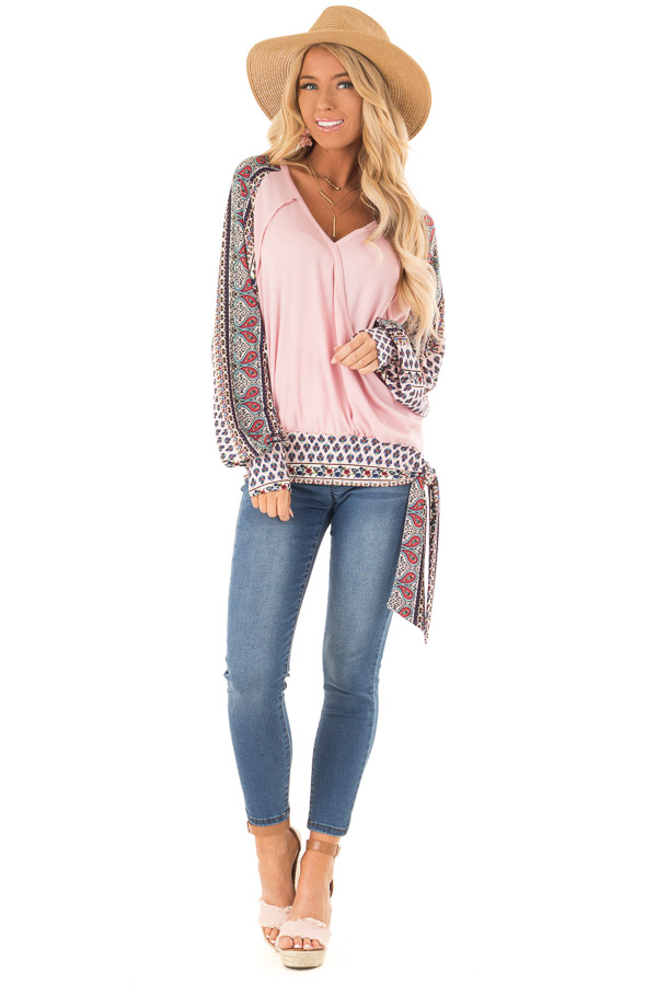 Baby Pink Crossover Textured Knit Top with Pattern Contrast front full body