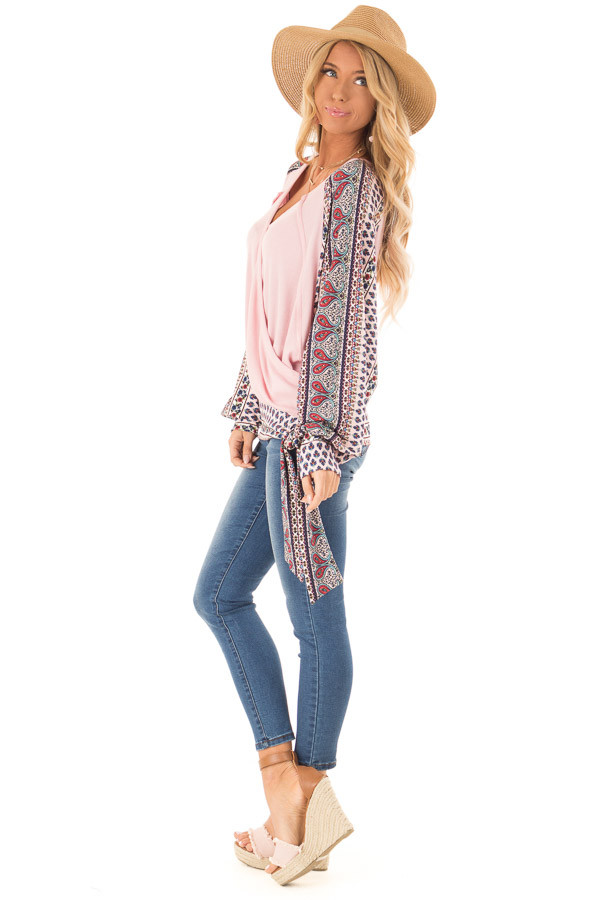 Baby Pink Crossover Textured Knit Top with Pattern Contrast side full body