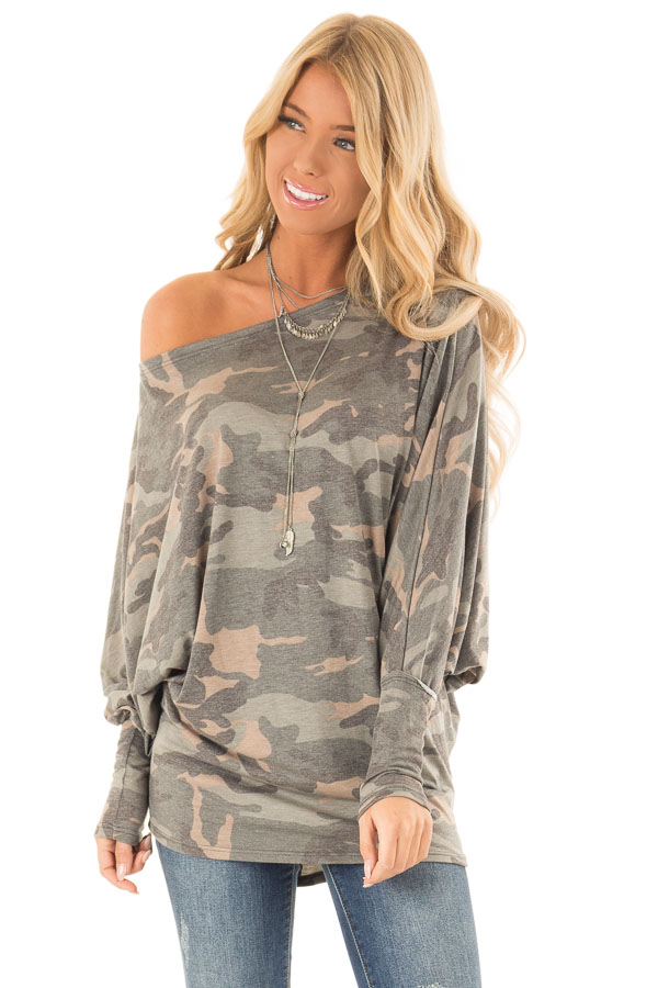 9d4bf7b2793ad2 Olive Camo Print Off the Shoulder Long Sleeve Top - Lime Lush Boutique