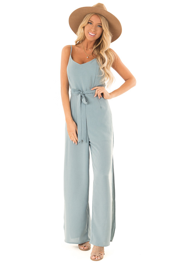 Green Slate Cami Jumpsuit With Waist Sash and Leg Slits front full body