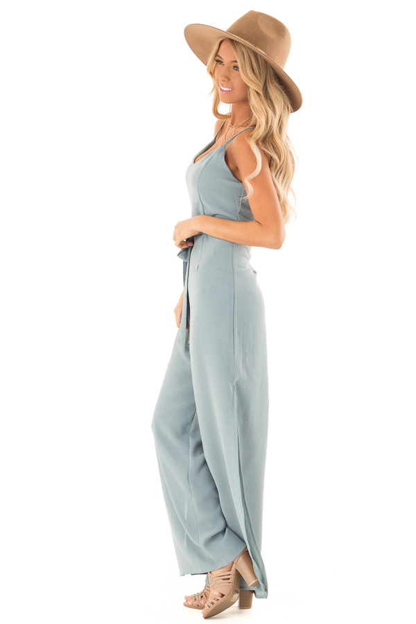 Green Slate Cami Jumpsuit With Waist Sash and Leg Slits side full body