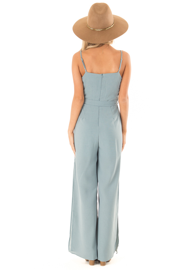 Green Slate Cami Jumpsuit With Waist Sash and Leg Slits back full body