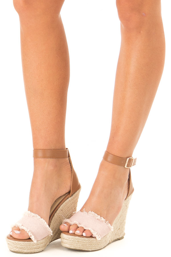 Blush and Caramel Braided Wedge with Frayed Detail side view