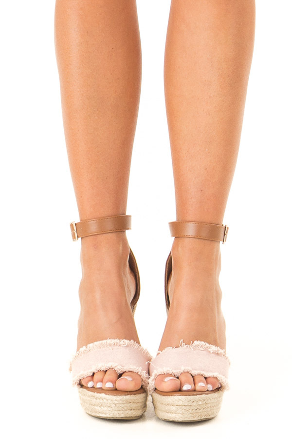 Blush and Caramel Braided Wedge with Frayed Detail front view