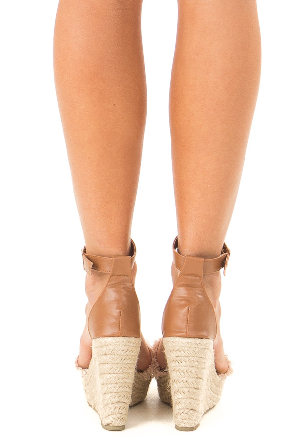 Blush and Caramel Braided Wedge with Frayed Detail back view
