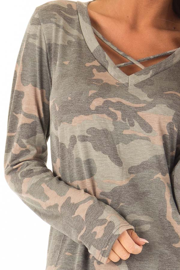 Camo Long Sleeve Tunic Top with Criss Cross Detail detail