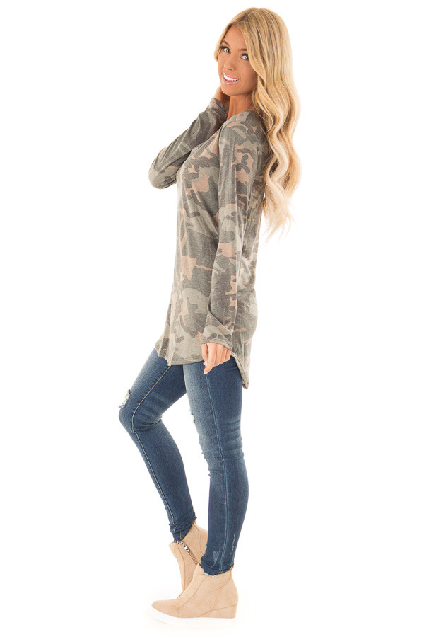 Camo Long Sleeve Tunic Top with Criss Cross Detail side full body
