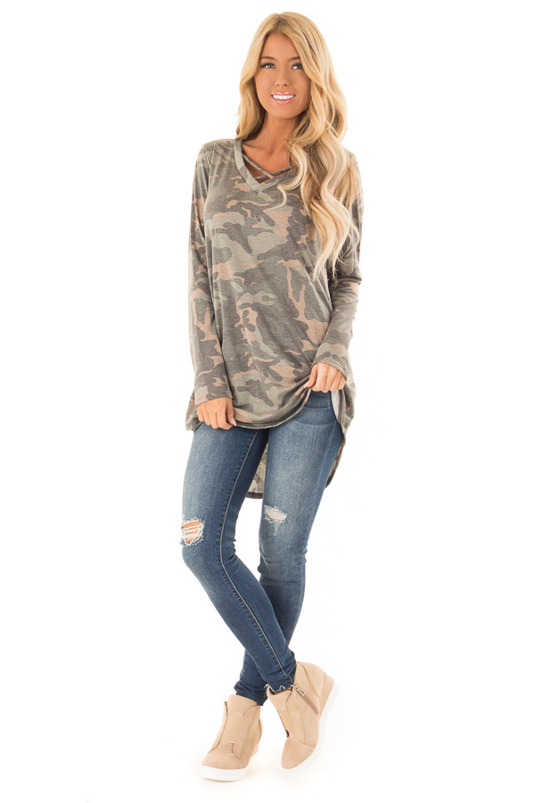 Camo Long Sleeve Tunic Top with Criss Cross Detail front full body