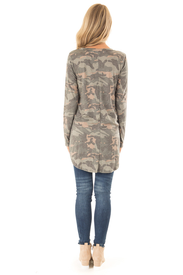Camo Long Sleeve Tunic Top with Criss Cross Detail back full body