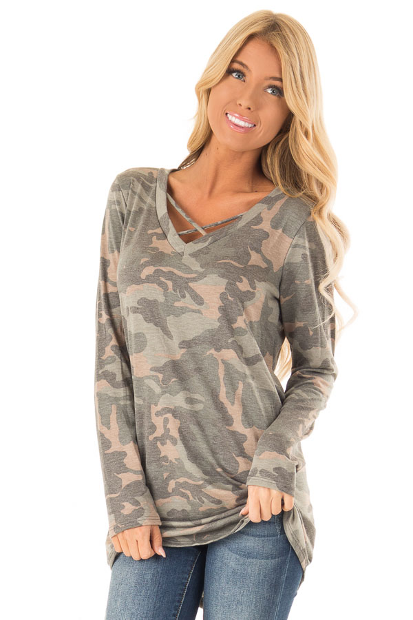 Camo Long Sleeve Tunic Top with Criss Cross Detail front close up