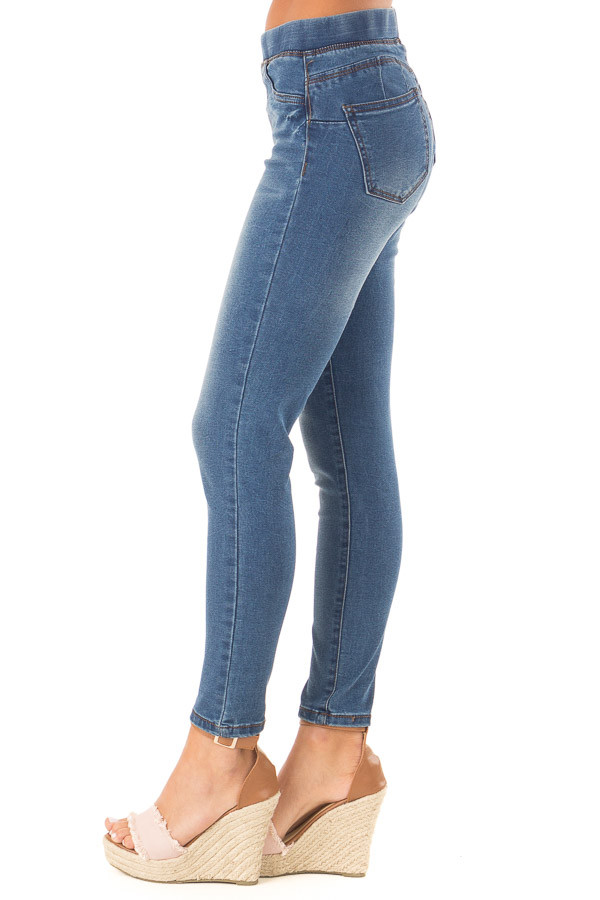 Dark Denim Skinny Jeans with Elastic Waist Band side view