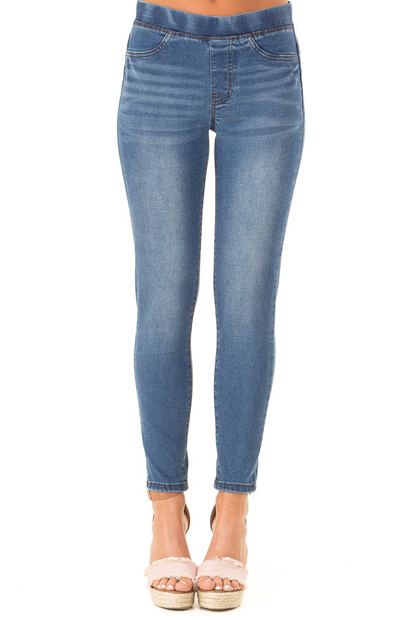 Dark Denim Skinny Jeans with Elastic Waist Band front view