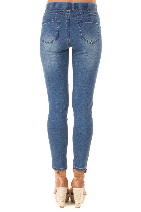 Dark Denim Skinny Jeans with Elastic Waist Band back view