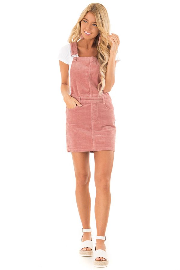 Dusty Rose Corduroy Overall Mini Dress with Front Pockets front full body