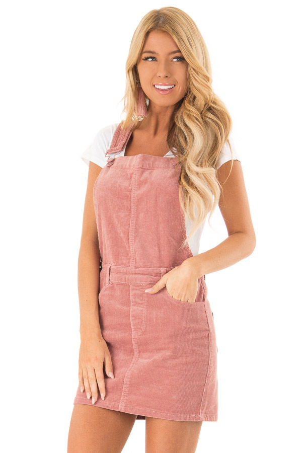 Dusty Rose Corduroy Overall Mini Dress with Front Pockets front close up