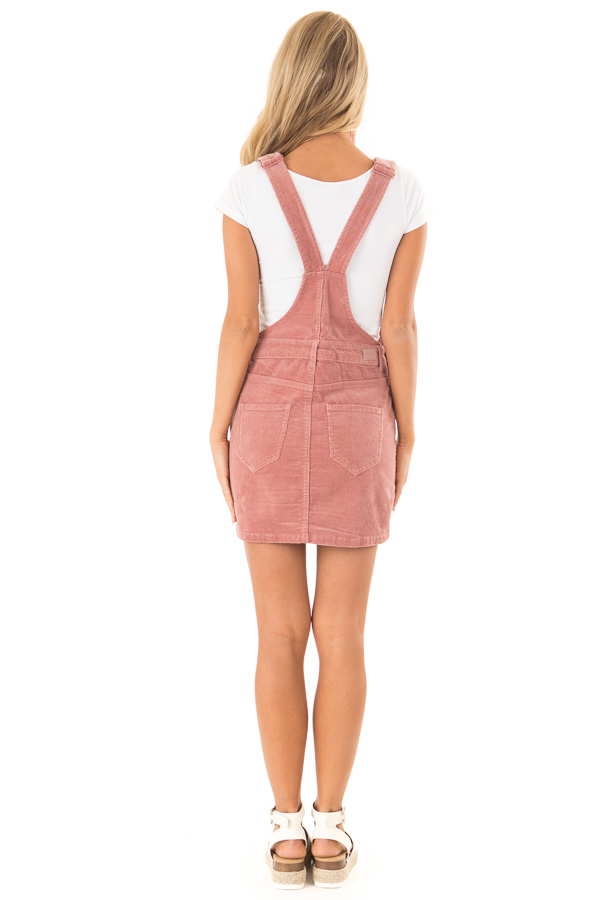 Dusty Rose Corduroy Overall Mini Dress with Front Pockets back full body