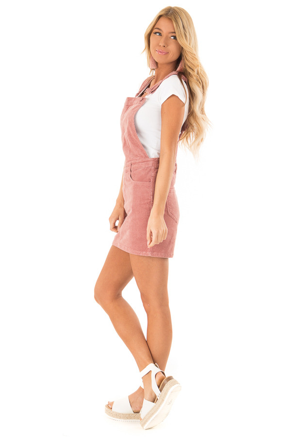 Dusty Rose Corduroy Overall Mini Dress with Front Pockets side full body