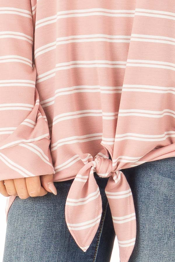 Dusty Salmon and Ivory Striped Long Sleeve Top with Tie detail