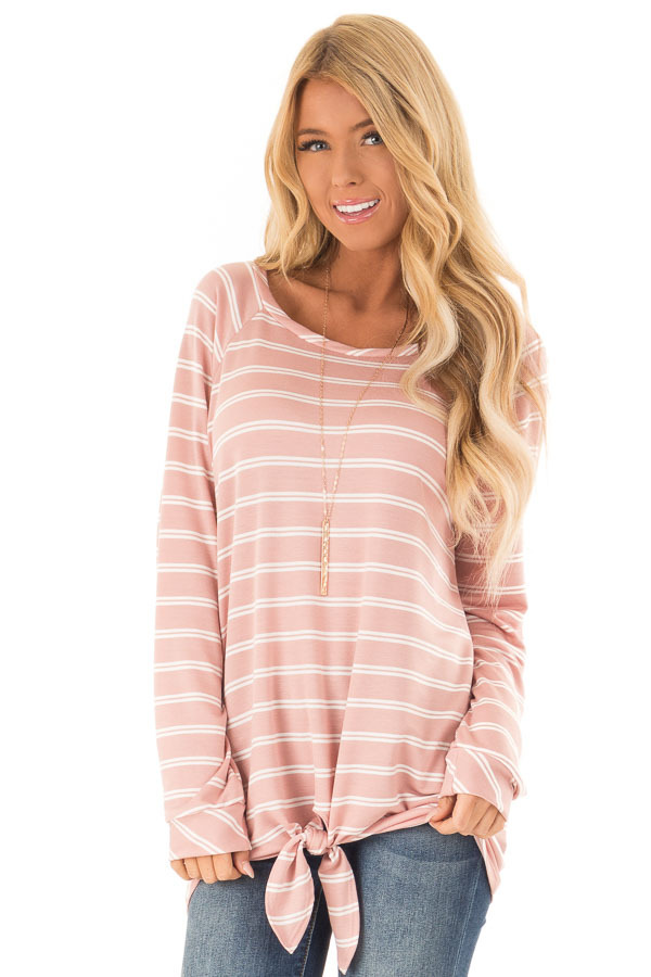 Dusty Salmon and Ivory Striped Long Sleeve Top with Tie front close up