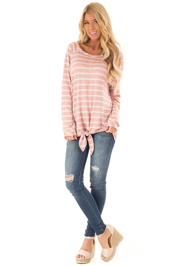 Dusty Salmon and Ivory Striped Long Sleeve Top with Tie front full body