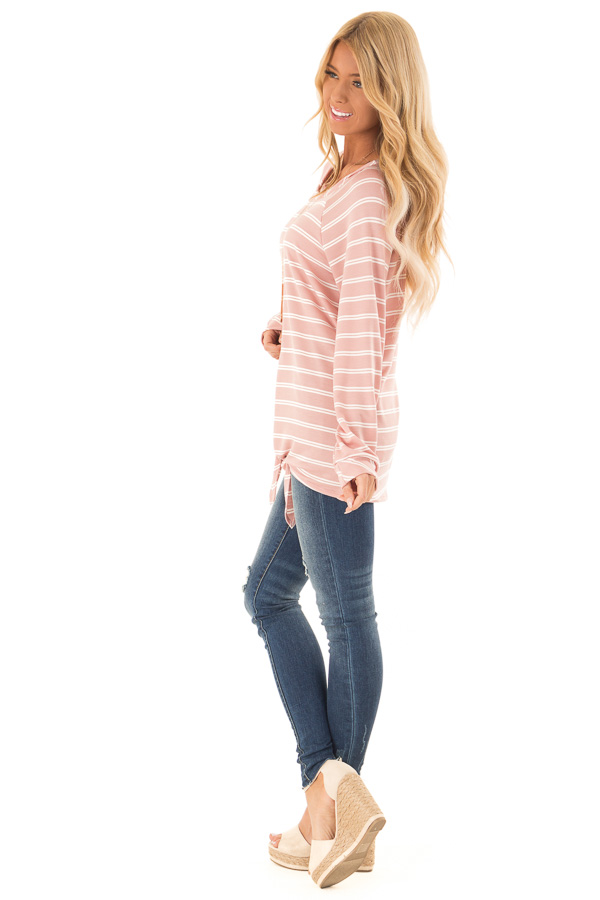 Dusty Salmon and Ivory Striped Long Sleeve Top with Tie side full body
