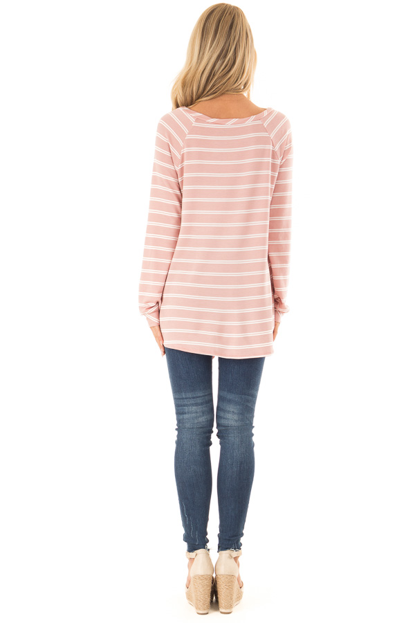 Dusty Salmon and Ivory Striped Long Sleeve Top with Tie back full body