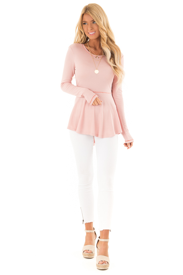 Baby Pink Thermal Knit Round Neck Long Sleeve Top front full body