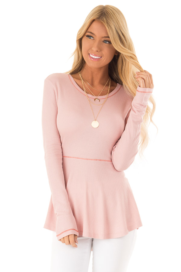 Baby Pink Thermal Knit Round Neck Long Sleeve Top front close view