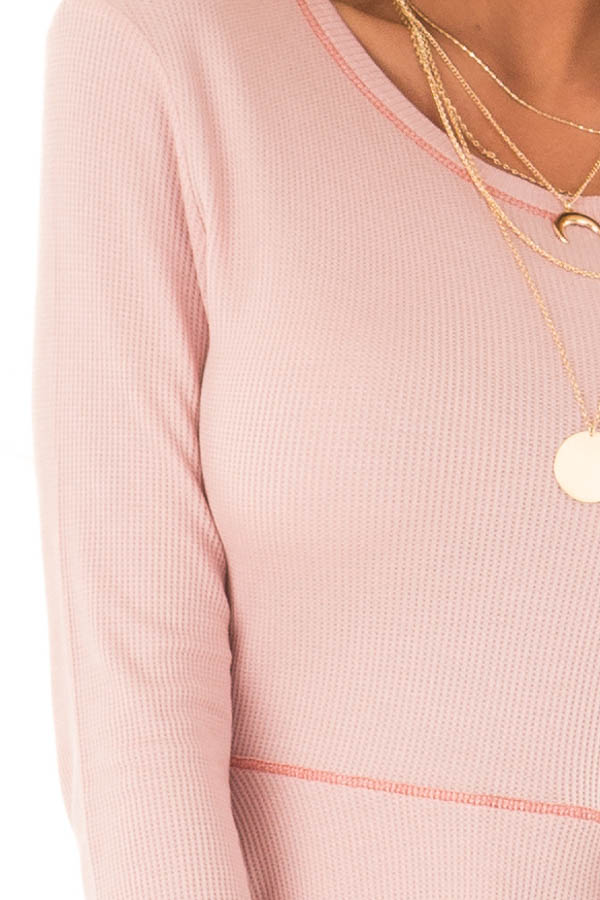 Baby Pink Thermal Knit Round Neck Long Sleeve Top detail