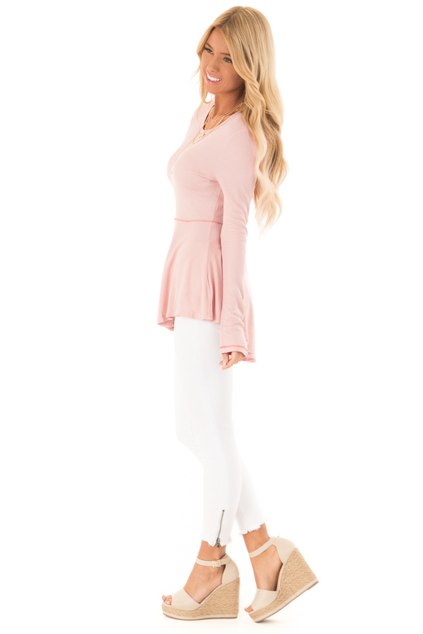 Baby Pink Thermal Knit Round Neck Long Sleeve Top side full body