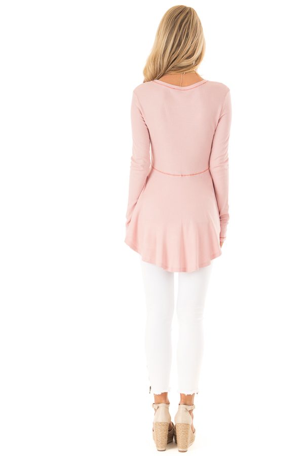 Baby Pink Thermal Knit Round Neck Long Sleeve Top back full body