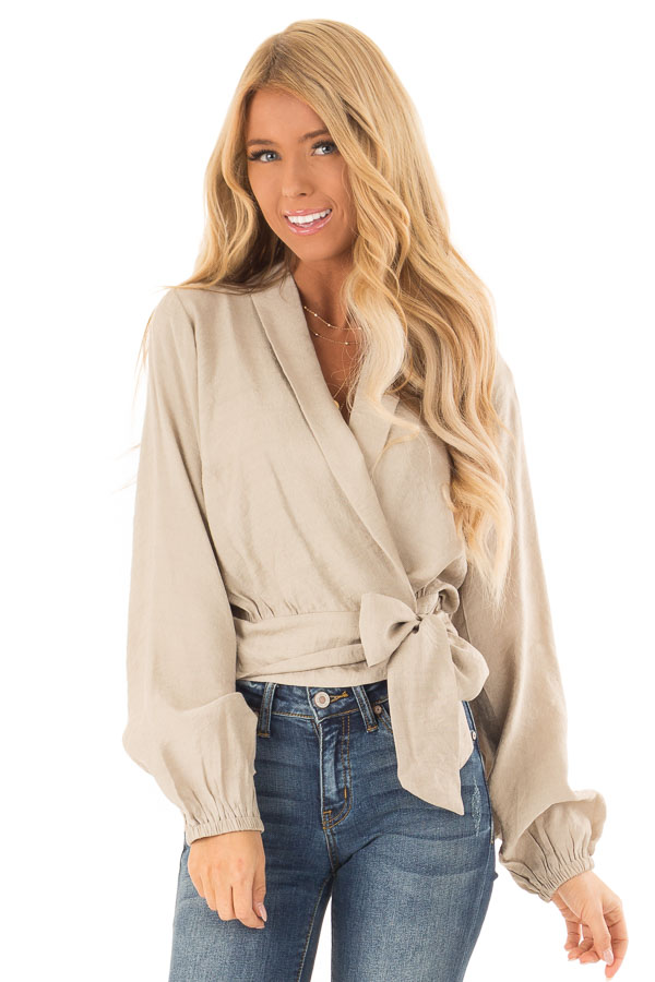 Beige Cropped Wrap Style Blouse with Long Puff Sleeves front close up