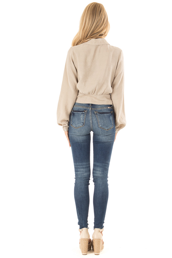 Beige Cropped Wrap Style Blouse with Long Puff Sleeves back full body