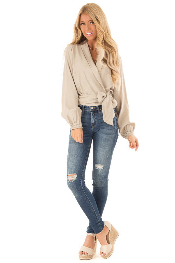 Beige Cropped Wrap Style Blouse with Long Puff Sleeves front full body