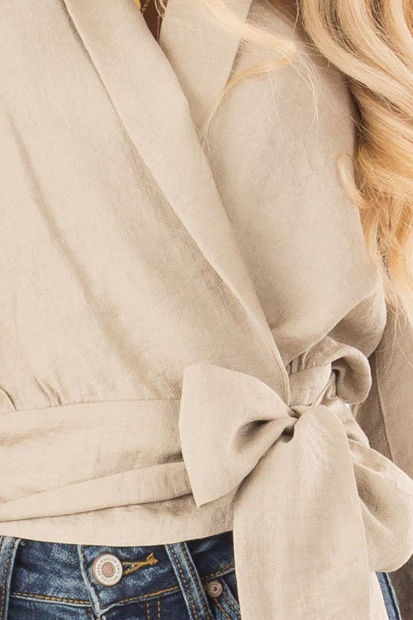 Beige Cropped Wrap Style Blouse with Long Puff Sleeves detail