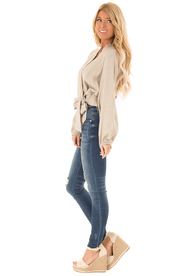 Beige Cropped Wrap Style Blouse with Long Puff Sleeves side full body