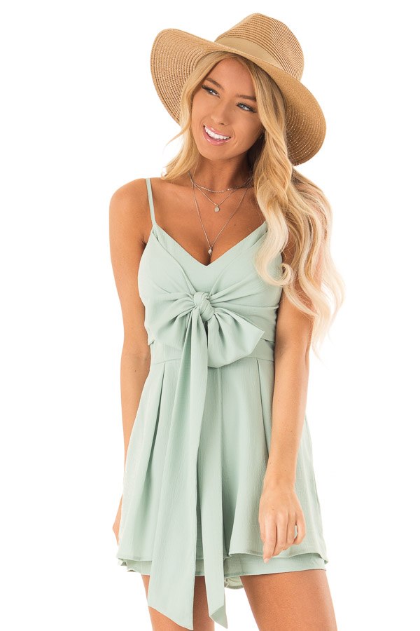 9223406f181d Sage Romper with Bow Tie Detail and Layered Hem - Lime Lush Boutique