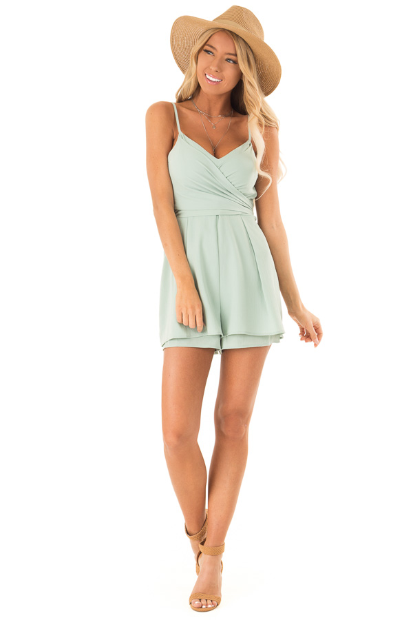 3373b263b59e ... Sage Romper with Bow Tie Detail and Layered Hem front full body ...